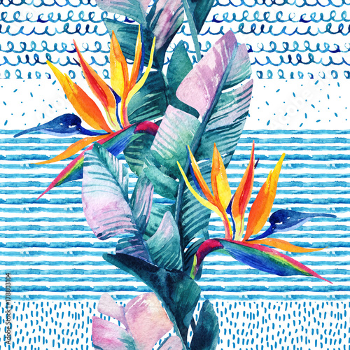 Tuinposter Paradijsvogel bloem Abstract watercolor tropical seamless pattern.