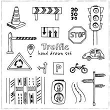 Hand Drawn Doodle Traffic Set.