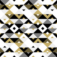 FototapetaTriangle geometric abstract golden seamless pattern. Vector background of black, white and gold triangular pattern or square swatch ornament texture or mosaic design backdrop tile template