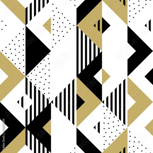 trojboka-geometryczny-abstrakcjonistyczny-zloty-bezszwowy-wzor-tlo-wektor-czarny-bialy-i-zloty-trojkatny-wzor-lub-plac-swatch