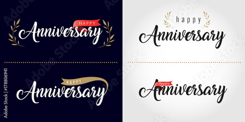 Photo  Happy Anniversary lettering text banner. Vector illustration