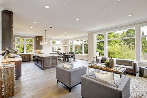 Fototapeta Luxurious new construction with open plan interior. obraz