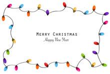 Colorful Christmas Frame With Light Bulb. Christmas Lights Decorative Garland