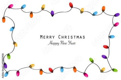 colorful christmas frame with light bulb christmas lights decorative garland - Christmas Lights Frame