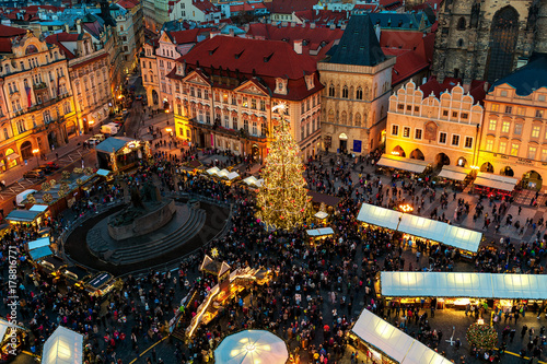 Christmas market in Old Town of Prague as seen from above. Canvas Print
