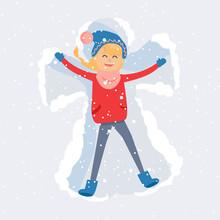 Happy Woman Making Snow Angel ...