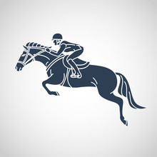 Horse Race. Equestrian Sport Vector Logo Icon Illustration