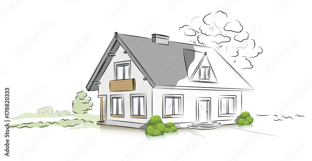 Fototapeta Hand drawn architectural sketch detached house