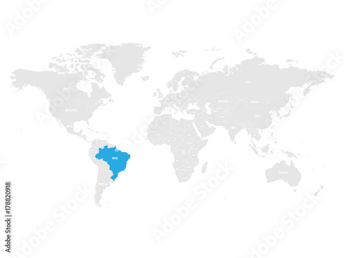 Brazil Marked By Blue In Grey World Political Map Vector