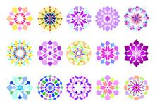 カラフルな花のベクター素材15個セット Colorful Flowers-15pcs