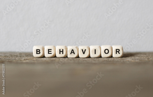 Word BEHAVIOR made with wood building blocks Canvas Print