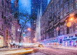 Fototapeta Nowy Jork - Snow over St. Patrick's Cathedral