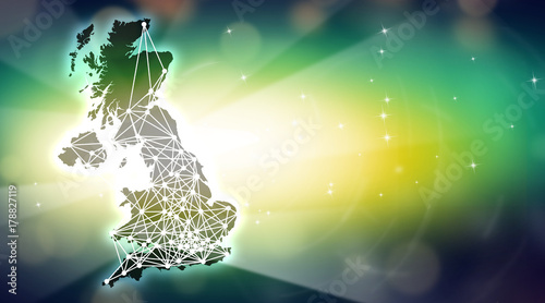 Fotografiet Map of Great Britain with abstractive points connected by futuristic lines, surr