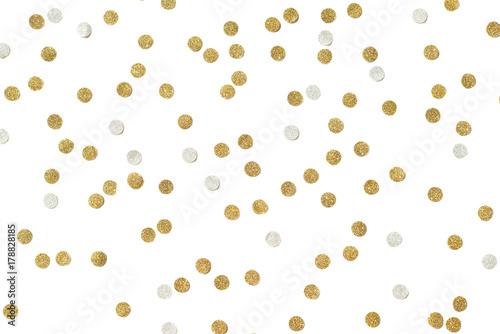 Obraz Gold and silver glitter confetti paper cut on white background - fototapety do salonu