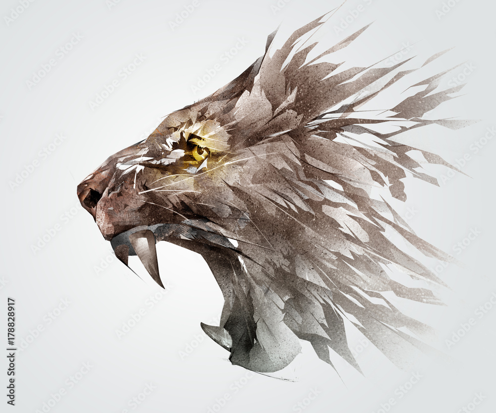 Fototapeta Isolated colored sketch grinning muzzle of a lion the animal side