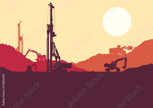 Hydraulic earth hole pile drilling machine, tractors digging at industrial construction site vector background
