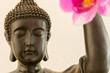 Buddhismus mit Orchideen im Hintergrund