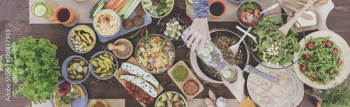 Fototapeta Table with vegan food obraz