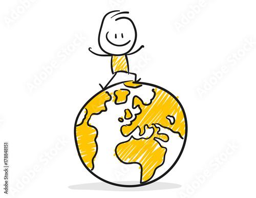 Foto  Strichfiguren / Strichmännchen: Erde, Weltreise. (Nr. 145)