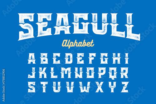 Vintage Style Seagull font, alphabet vector illustration