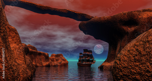 Pirate ship in sunrise scenery 3d rendering