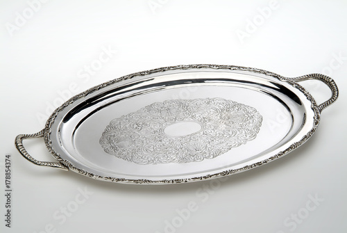 Engraved oval silver tray
