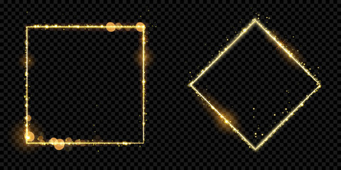 Golden frame squares of gold glitter light particles. Vector shiny sparkling square rhombus line square with glowing magic neon light effect on black banner background