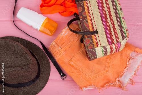 Summer Accessories Straw Beach Bag Sun Hat Belt Orange Denim Shorts