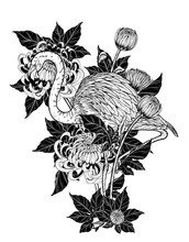 Flamingo With Chrysanthemum Vector By Hand Drawing.Birds And Flower Tattoo Highly Detailed In Line Art Style.Flower Tattoo Black And White Concept.