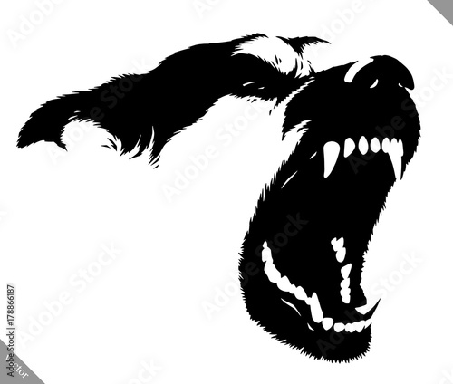 Cuadros en Lienzo black and white linear paint draw dog vector illustration