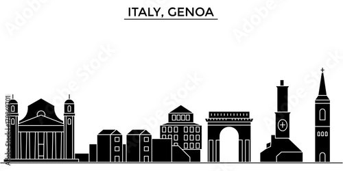 Photo Italy, Genoa architecture skyline, buildings, silhouette, outline landscape, landmarks