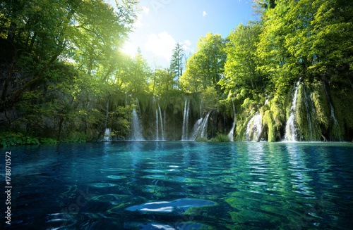 Cascade waterfall in forest, Plitvice Lakes, Croatia