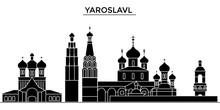Russia, Yaroslavl Architecture Skyline, Buildings, Silhouette, Outline Landscape, Landmarks. Editable Strokes. Flat Design Line Banner, Vector Illustration Concept.