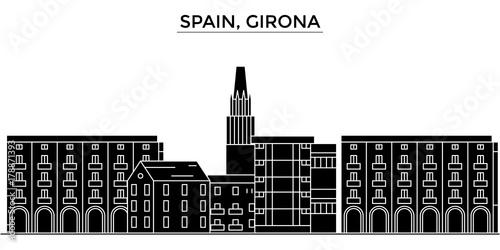 Spain, Girona architecture skyline, buildings, silhouette, outline landscape, landmarks. Editable strokes. Flat design line banner, vector illustration concept.