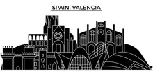 Spain, Valencia Architecture Skyline, Buildings, Silhouette, Outline Landscape, Landmarks. Editable Strokes. Flat Design Line Banner, Vector Illustration Concept.