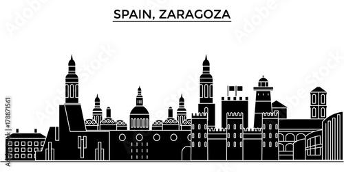 Spain, Zaragoza architecture skyline, buildings, silhouette, outline landscape, landmarks. Editable strokes. Flat design line banner, vector illustration concept.