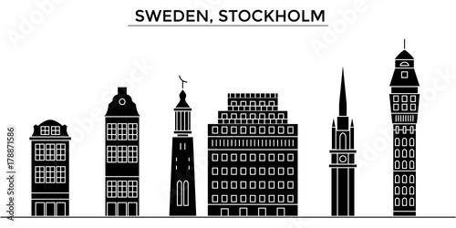 Sweden, Stockholm architecture skyline, buildings, silhouette, outline landscape, landmarks. Editable strokes. Flat design line banner, vector illustration concept.