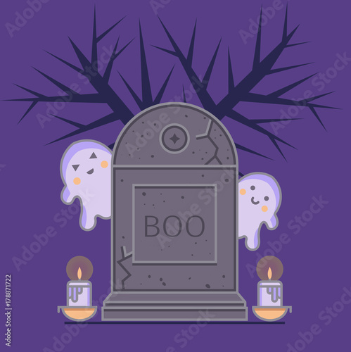 Gravestone Cute Ghosts And Candles Into Bowls Halloween Illustration In Cartoon Flat Style Includes