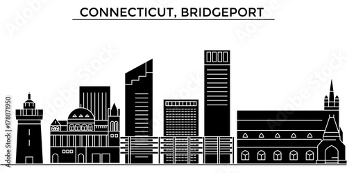 Photo  Usa, Connecticut, Bridgeport architecture skyline, buildings, silhouette, outline landscape, landmarks