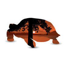 Silhouette Of Turtle With  Panorama Of African Landscape. Black And Brown Tones.