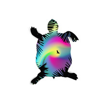 Silhouette Of Running Turtle With Coniferous Trees On The Background Of Colorful Sky.  Northern Lights. Pink And Blue Tones.