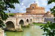 Saint Angel Castle and bridge over Tiber river in Rome. Italy