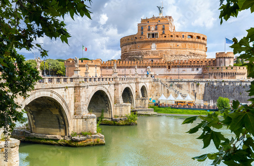 Foto op Aluminium Rome Saint Angel Castle and bridge over Tiber river in Rome. Italy