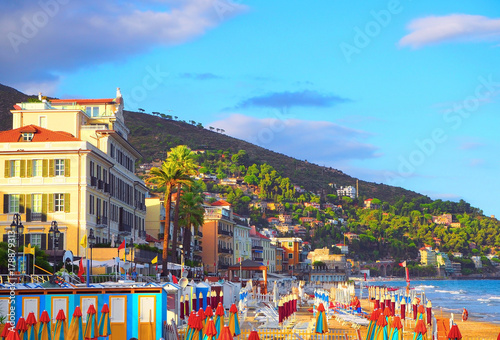 Photographie  Multicolored umbrellas on the beach in Alassio, province of Savona, Sanremo region, Italy