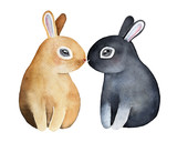 Two cute bunnies kissing with noses. Romantic date, meeting. Black gray and beige fawn color, big sparking eyes. Side profile view. Hand painted watercolor illustration, isolated on white background. - 178885159