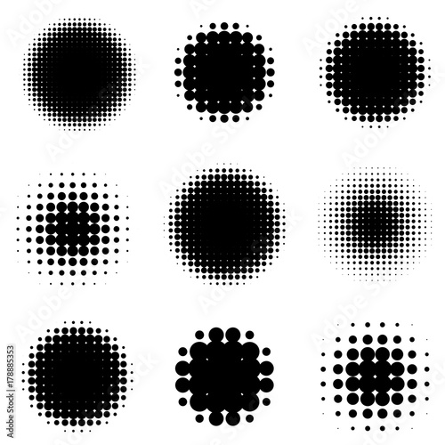 Abstract Halftone Backgrounds. Vector Set of Isolated Modern Design Element. Wall mural