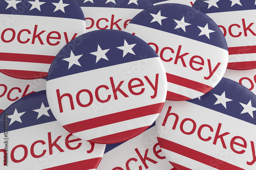 Usa Sports Badges Pile Of Hockey Buttons With Us Flag 3d