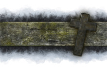 Christian Cross On Old Wooden ...