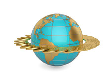 Gold Coins Around The Globe.3D Illustration.