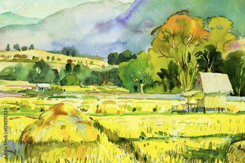 Photo sur Toile Jaune de seuffre Painting village and rice field in the morning